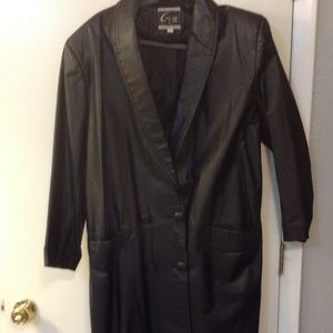 Global Identity Women's Black Leather Maxi Coat